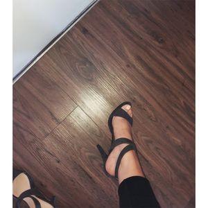 NWOT dark gray strappy pump platform heels